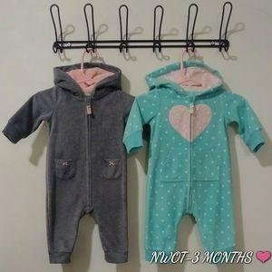 Carter's fleece jumpsuit bundle! NWOT ❤